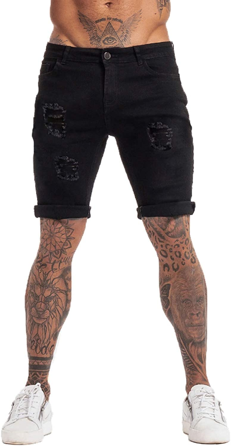 GINGTTO Mens Fashion Ripped Short Jeans Casual Denim Shorts with Hole