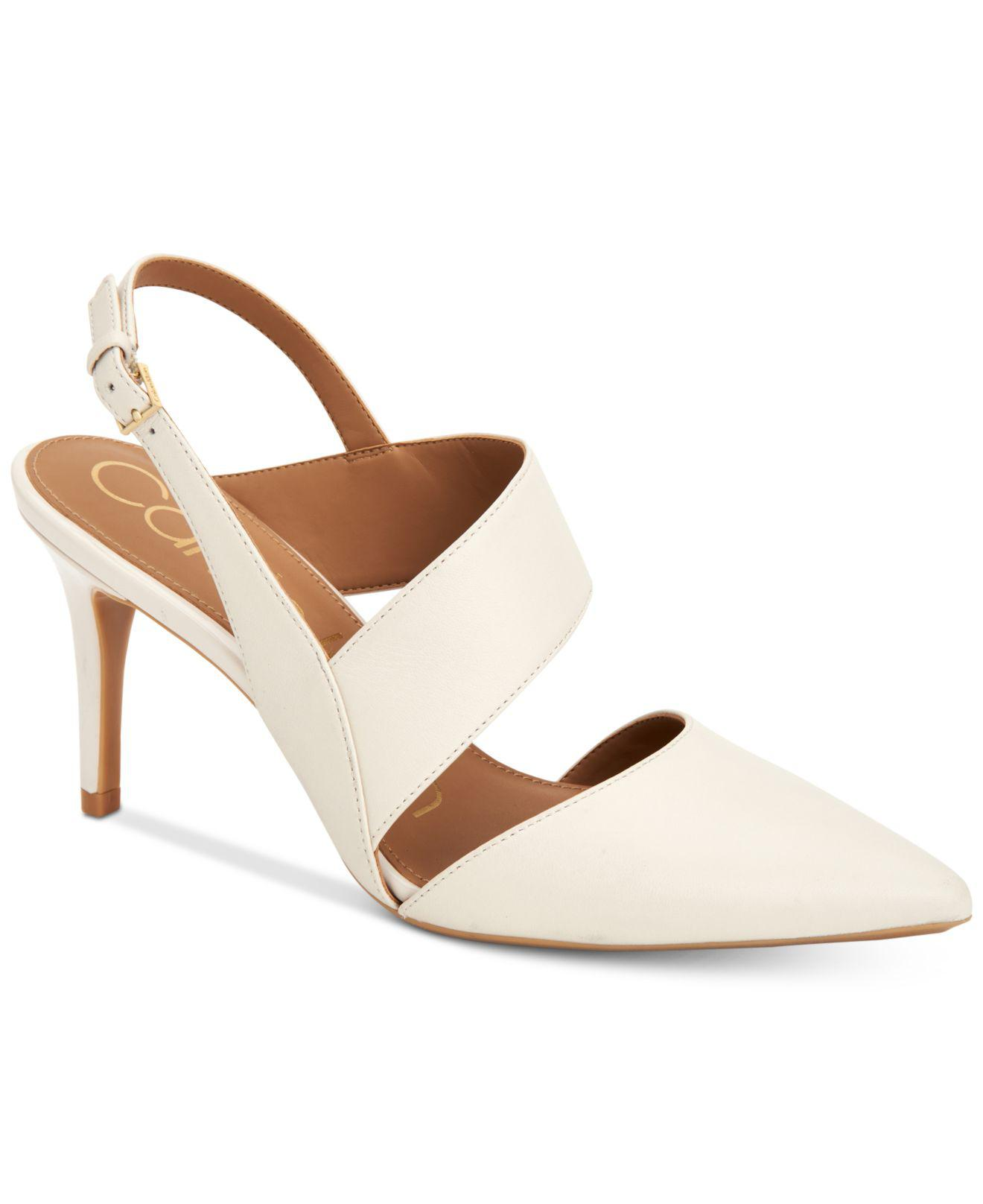 aab74491413 Calvin Klein Womens Gianna Leather Pointed Toe SlingBack
