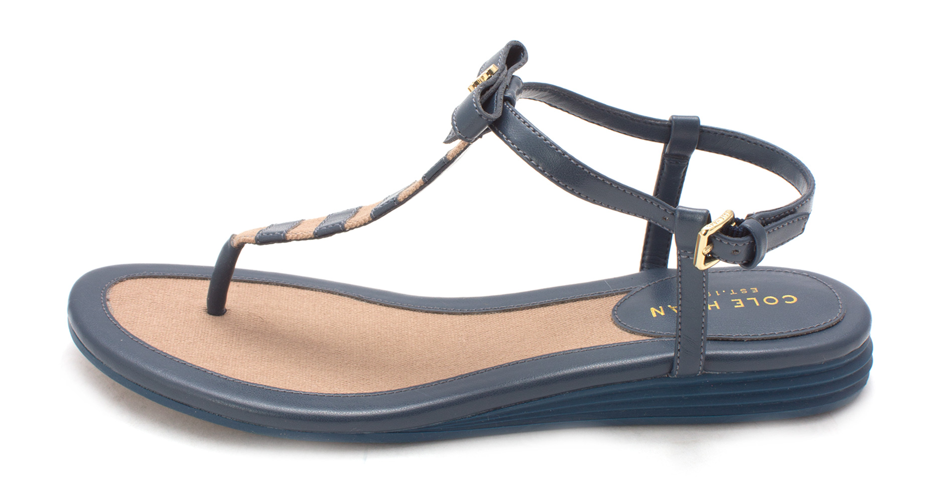 Cole Haan Womens Kathesam Open Toe Casual TStrap Sandals BlueTan Size 60