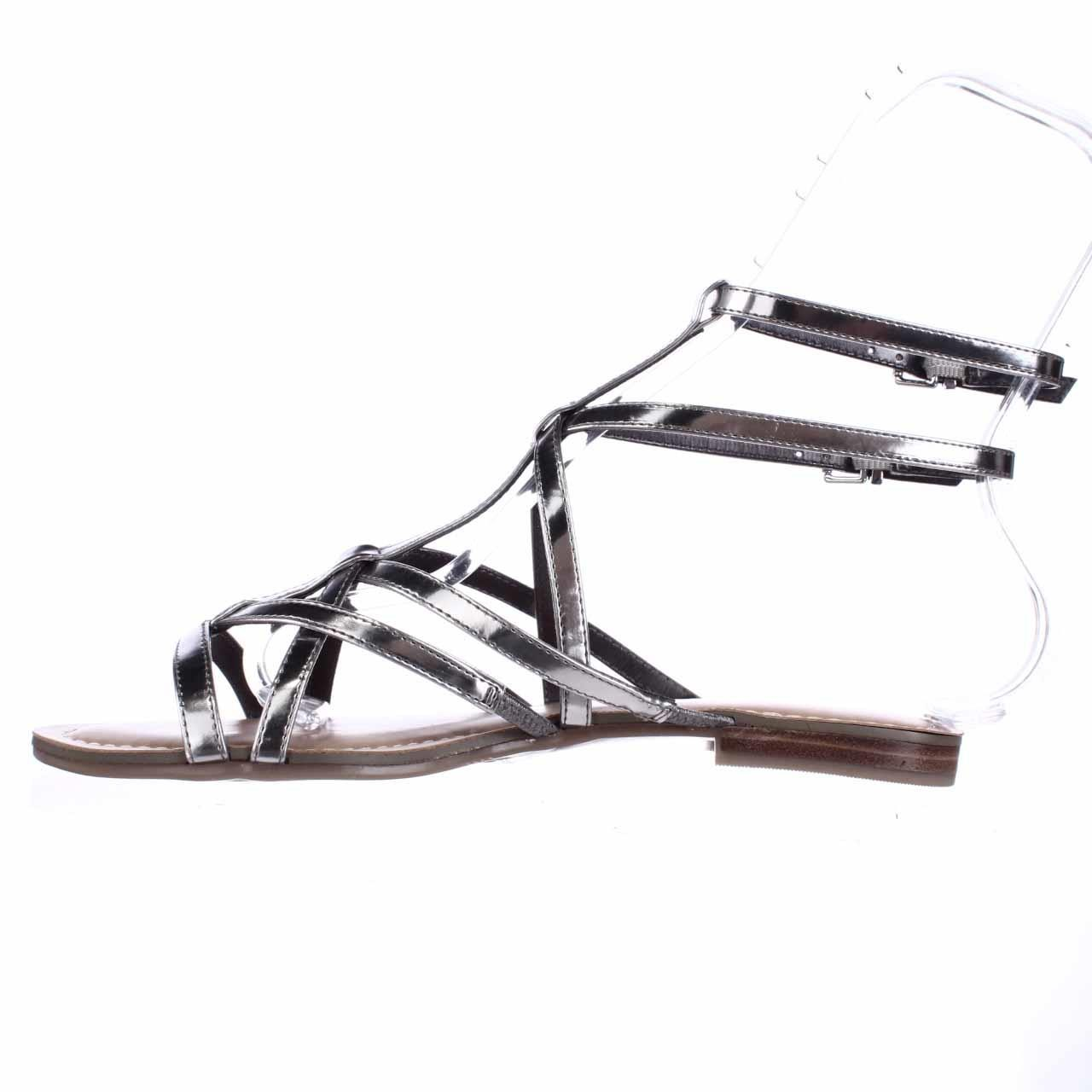 GUESS Womens Mannie Open Toe Casual Gladiator Sandals Silver Size 5.0