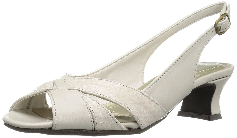 Easy Street Womens ariel Fabric Open Toe Casual Slingback Ivory Snake Size 6.5