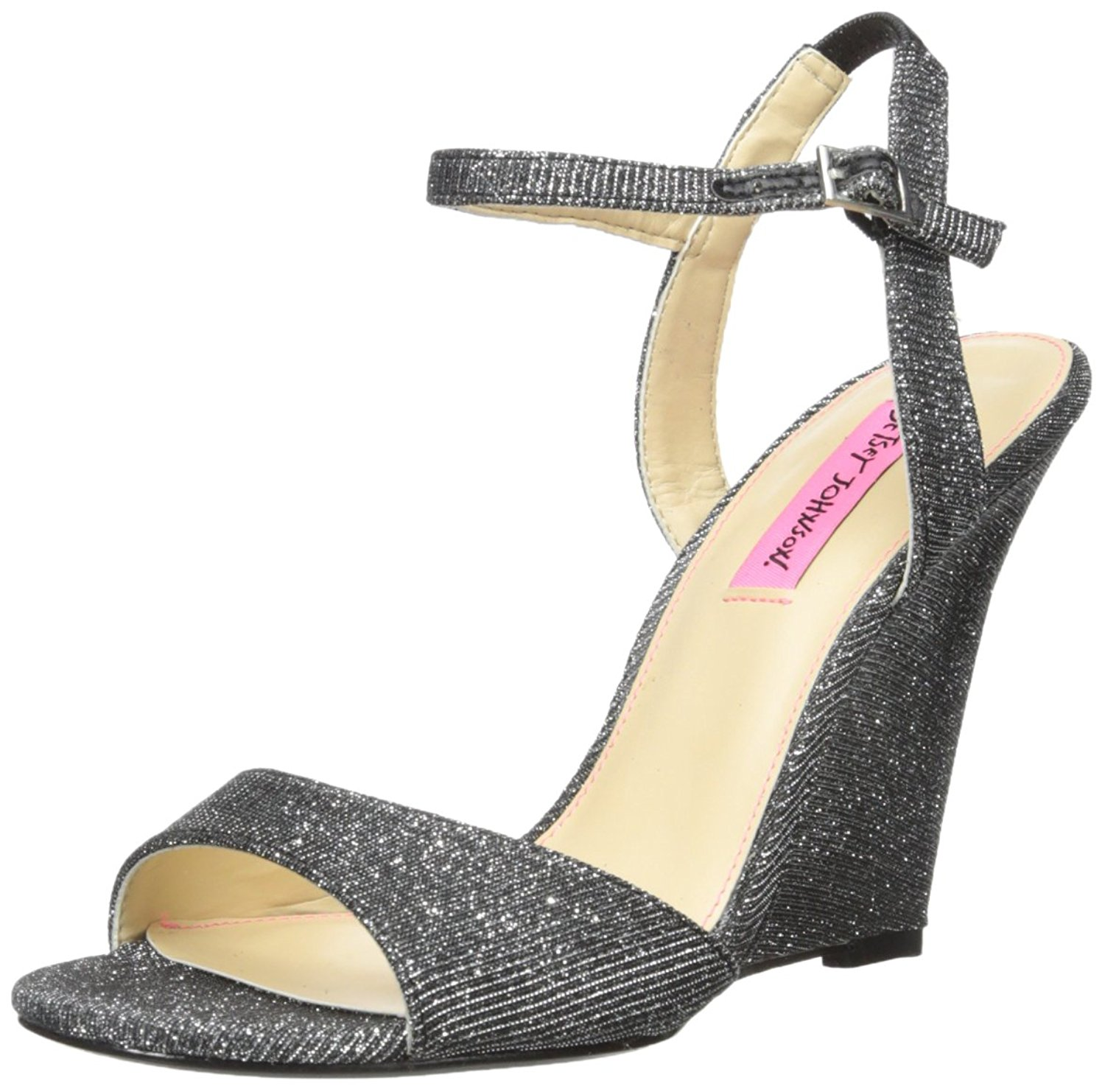Betsey Johnson Womens duane Fabric Open Toe Special Occasion Black Size 50
