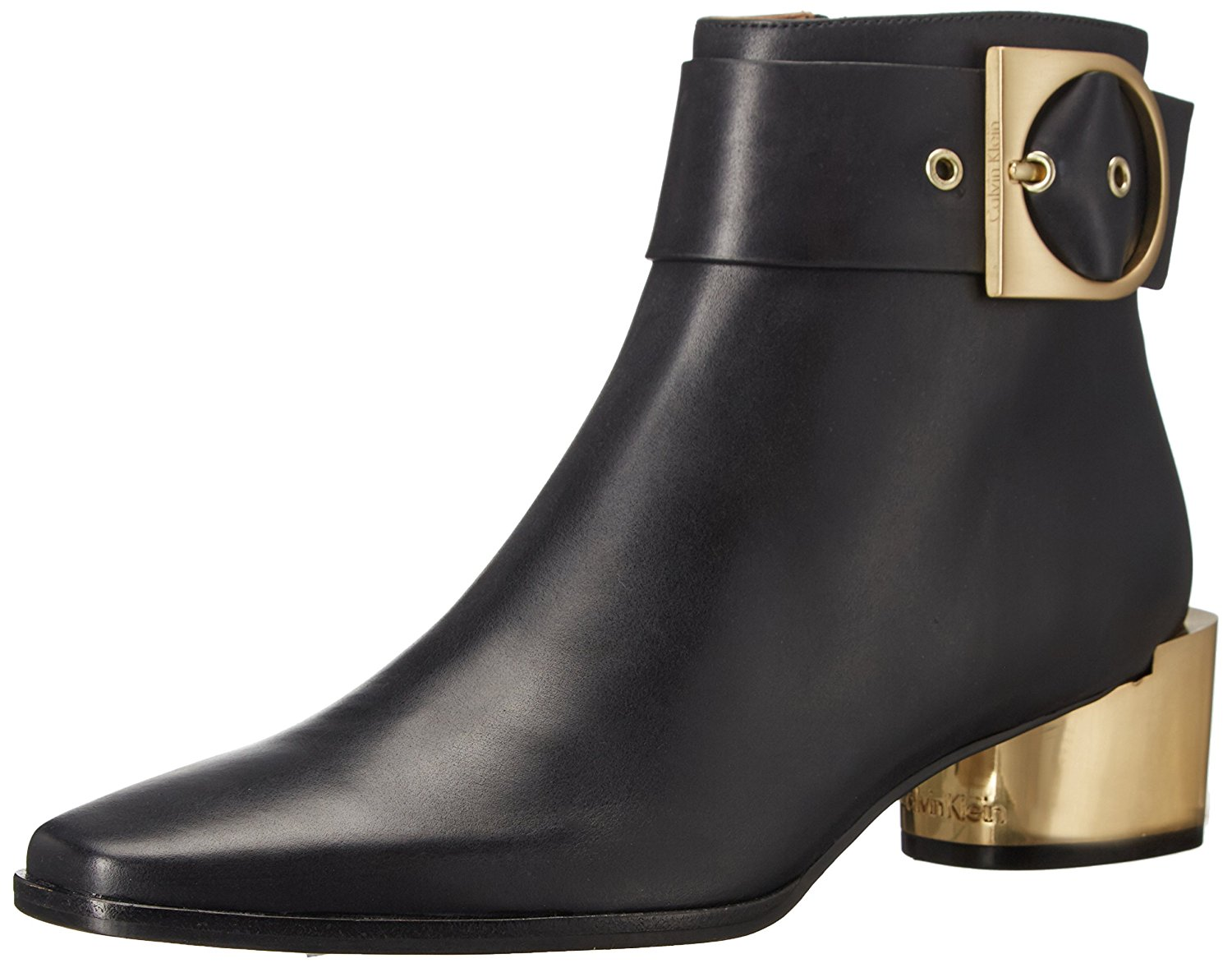 calvin klein womens andrina leather pointed toe ankle