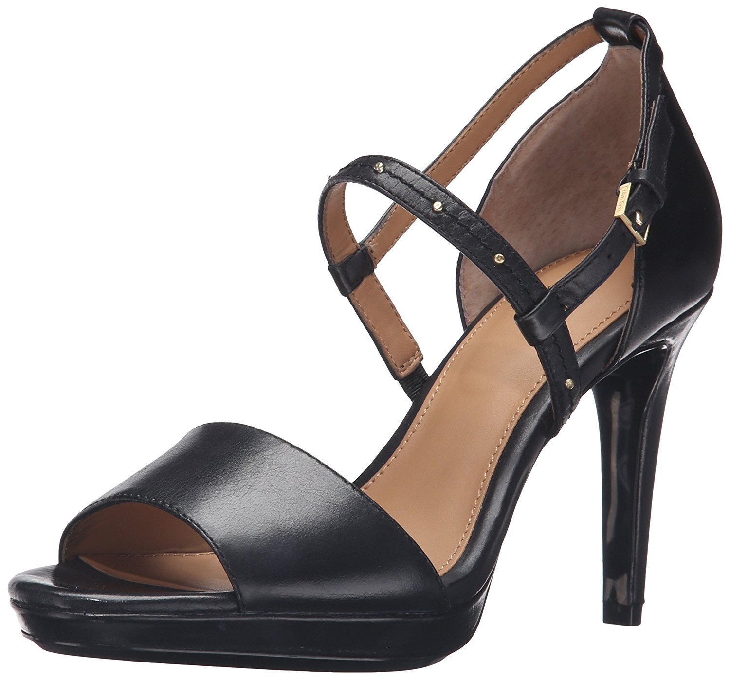 Calvin Klein Womens Pianna Leather Open Toe Casual Ankle Strap Black Size 95
