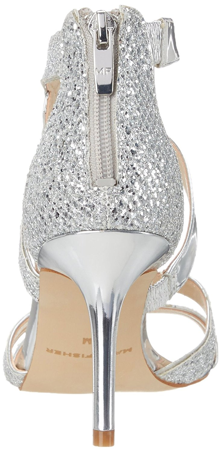 Marc Fisher Womens Lexcie2 Open Toe Special Occasion Silver Glitter Size 9.5 V