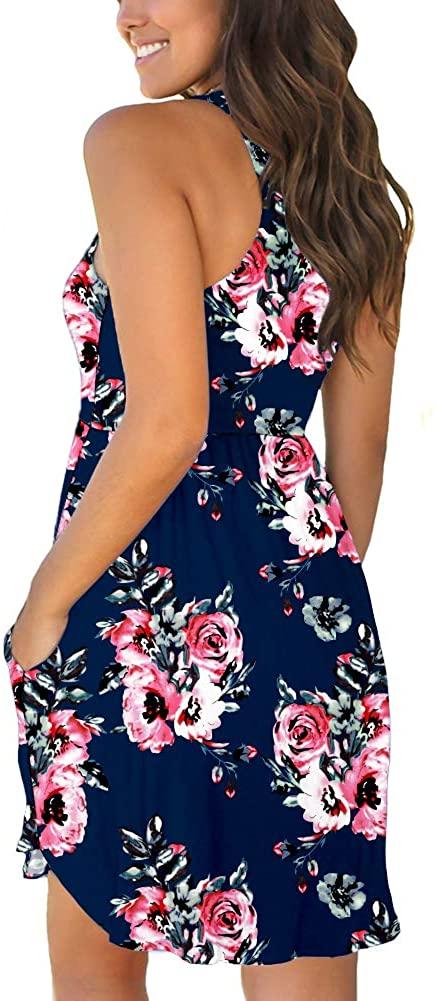 LONGYUAN Womens Summer Casual T Shirt Dresses Midi, Leaf