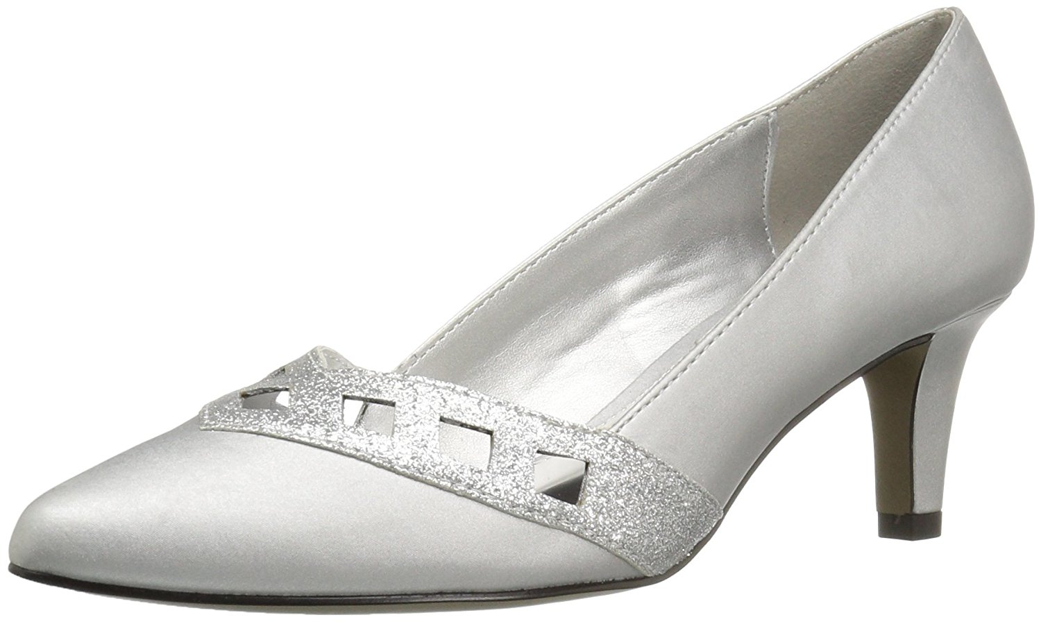 Easy Street Womens Valiant Closed Toe Classic Silver Satin/Glitter Size 10.0 W