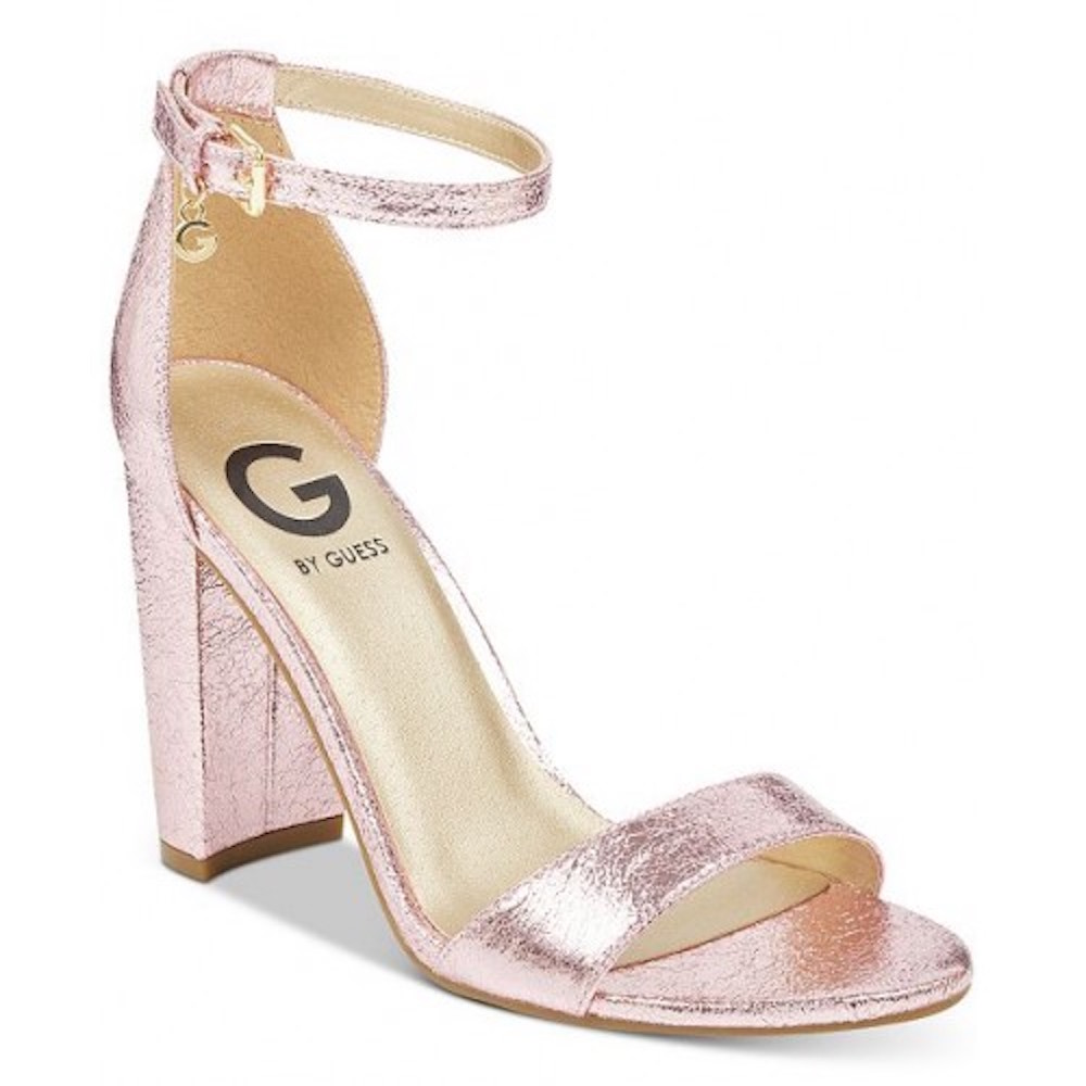 G By Guess New Womens Shantel Black Peep Toe Block Glitter Heels Shoes Size 10 M