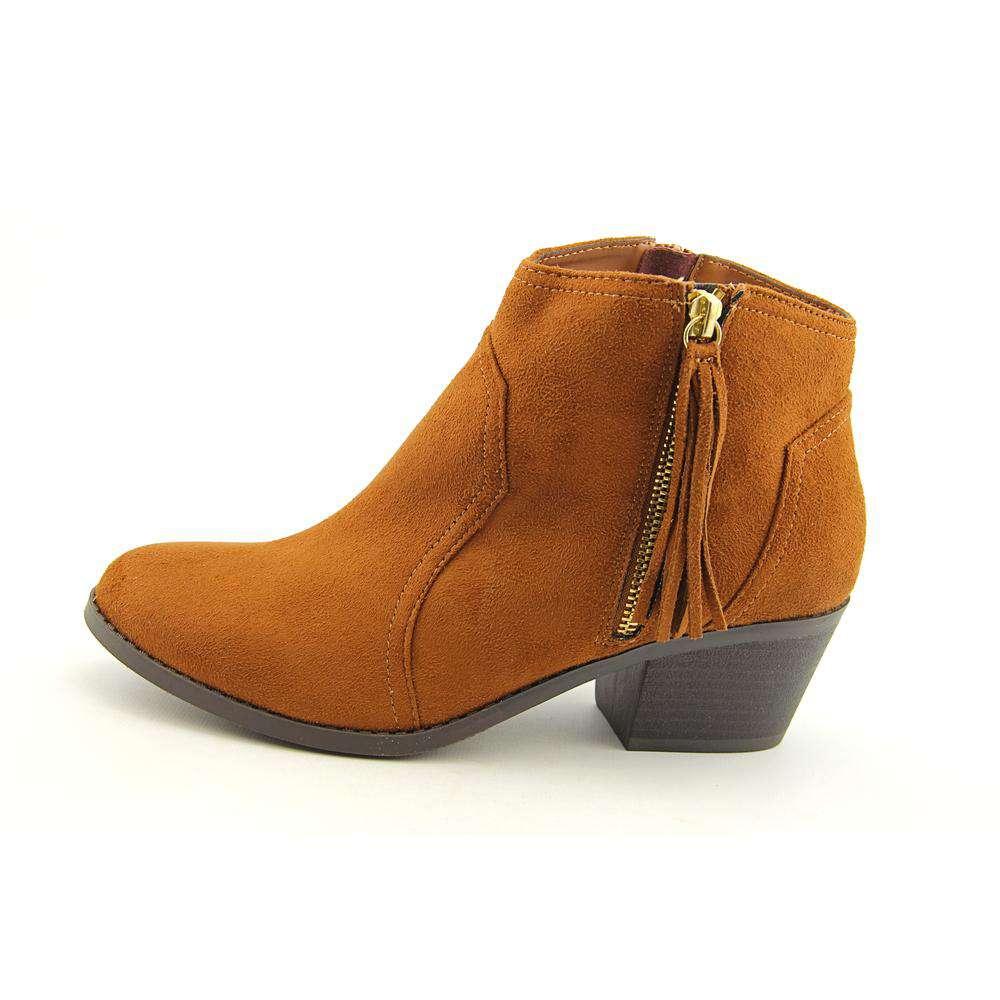 Sarah Jayne Big Girls Janis Ankle Bootie Brown Cognac Suede Size 6 M US