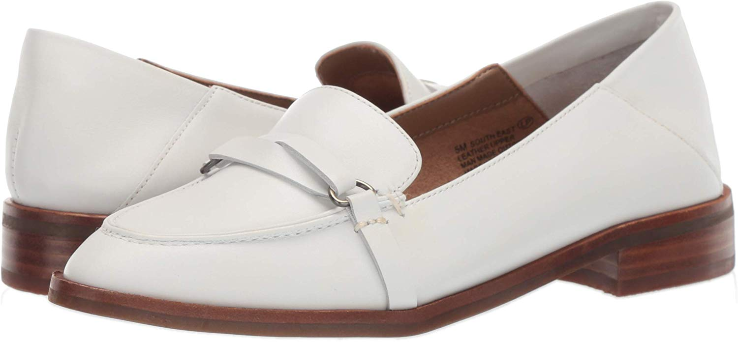 Aerosoles Women's South East Penny Loafer, White Leather ...