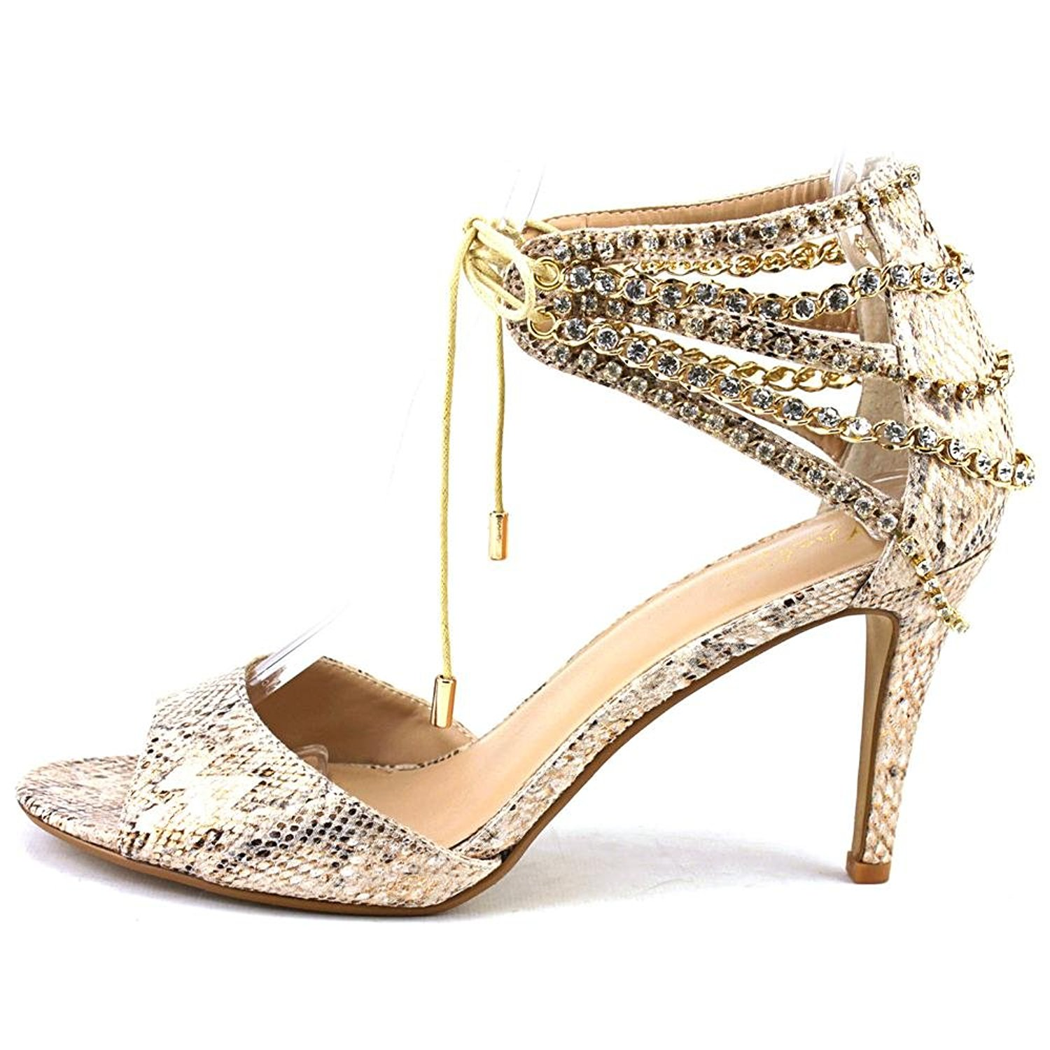 Thalia Sodi Womens EVAHLY Open Toe Special Occasion Champagne Snake Size 8.5 h
