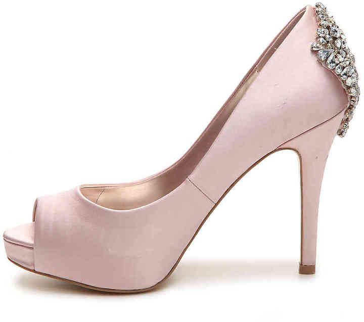 Audrey Brooke Womens chelsea Open Toe Classic Pumps blush Size 10.0