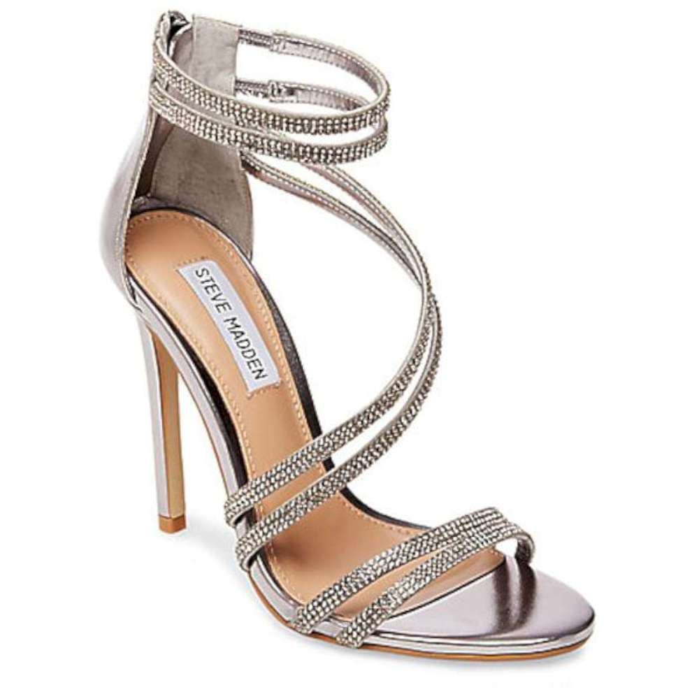 Steve Madden Womens Fiffi Open Toe Ankle Strap Classic Pumps Silver Size 7.0
