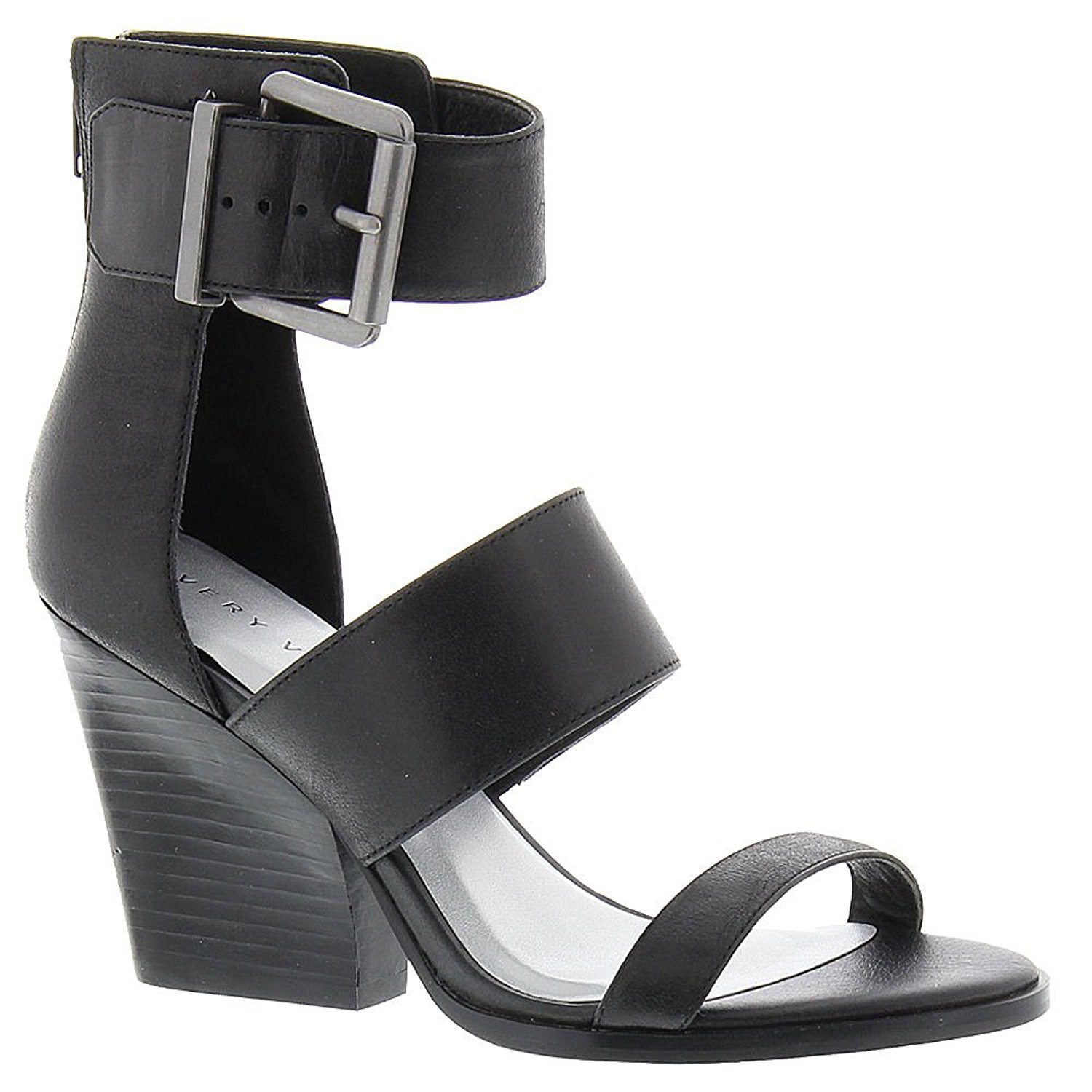 Very Volatile Womens Tiggy Leather Open Toe Casual Ankle Strap Black Size 7.0