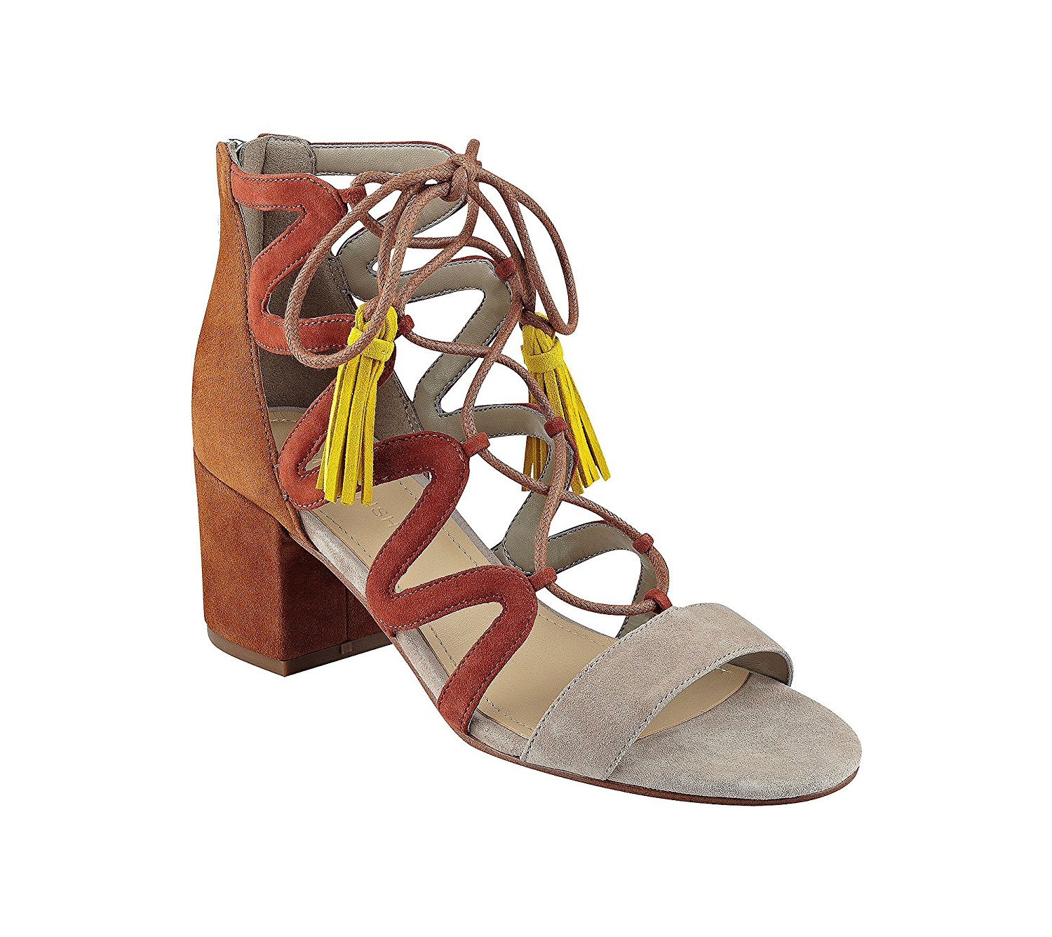 Marc Fisher Womens Rayz Suede Almond Toe Casual Strappy Taupe Brown Size 100