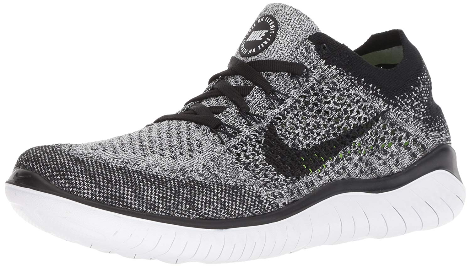 watch b6046 8f232 Nike Womens Free Rn Flyknit 2018 Low Top Lace Up Running, White Black, Size  9.0